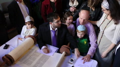 Inauguration of a Torah scroll ceremony Stock Footage