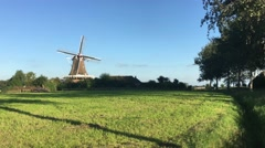 Windmill De Hond (the dog) in Friesland - stock footage