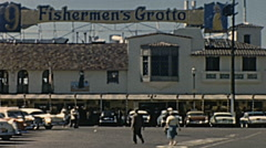 San Francisco 1962: people in front of Fishermen's grotto Stock Footage