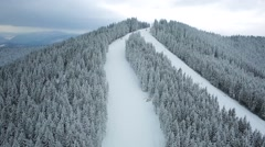 Aerial middle view top mountain winter Carpathians Stock Footage
