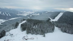 Aerial view winter mountains Carpathians Stock Footage