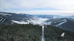 Aerial view winter mountains and gorizont Carpathians Stock Footage