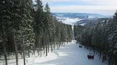 Aerial view winter ski race mountains Carpathians Stock Footage