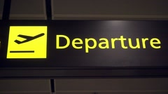 Departure sign in the airport Stock Footage