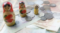 Old USSR money. Matroshka. Rubles. Defocus Stock Footage