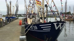 Fishing boats in the harbour Stock Footage