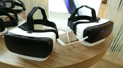 VR headsets, virtual reality sets, VR glasses Pan Stock Footage