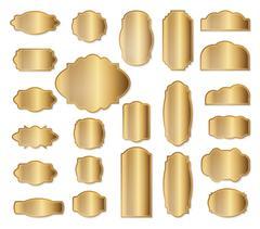 Labels set. Gold frames. Simple golden design. Vintage style decorative border Stock Illustration