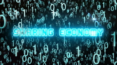 Bluish Sharing Economy concept with digital code Stock Footage