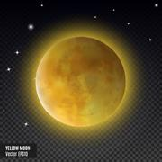Realistic detailed full blue moon isolated on transparent background. Eps10 Stock Illustration