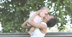 Afro-american mother and baby Stock Footage