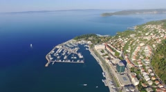 Aerial view of marina in Split Stock Footage