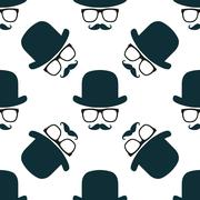 Vintage hipster hat and mustache symbol seamless pattern - stock illustration
