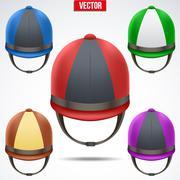 Set of Classic Jockey helmets Stock Illustration