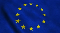 Flag of the European Union waving on the wind Stock Footage