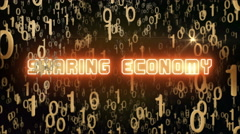 Golden Sharing Economy concept with digital code Stock Footage