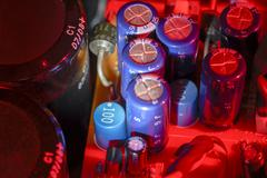colorful illuminated electronics closeup - stock photo