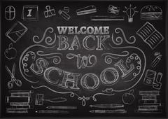 Welcome back to school sale background with red apple, vector illustration Piirros