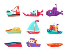 Water Transport Toy Boats Set Stock Illustration
