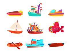 Water Transport Toy Boats Icon Collection Stock Illustration