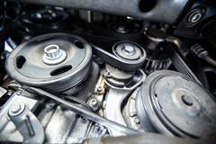 Close-up of car engine and components Stock Photos