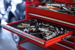 Set of work tools in toolbox Stock Photos