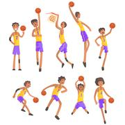 Basketball Players Of Same Team Action Stickers Stock Illustration