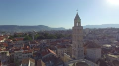 Aerial view of old town Split city center with Diocletian palace Stock Footage