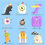 Winter Dressed Monsters in Funny Situations Stock Illustration