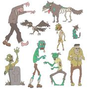 Scary Zombies Outlined Stickers Stock Illustration