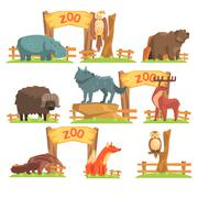 Wild Animals Behind The Fence In Zoo Set Stock Illustration