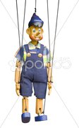 Isolated wooden puppet Stock Photos