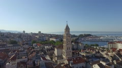 SPLIT, CROATIA - JULY 21, 2016: Aerial view, Split city center, old town with Stock Footage