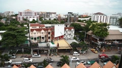 Aerial of nimmanhaemin road chiang mai daytime Stock Footage