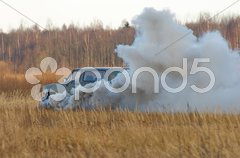 The explosion of car 1. - stock photo