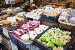 Various sweet food on display Stock Photos