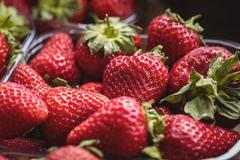 Close-up of strawberries in plastic box Stock Photos