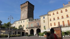 Castello Gate and Castello Tower in Vicenza historical centre Stock Footage