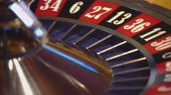 Roulette wheel - close up shot - ball on 13 black Stock Footage