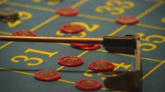 Roulette table in a casino - collecting tokens from table Stock Footage