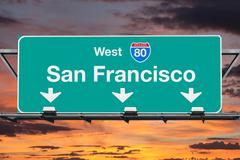 San Francisco Interstate 80 West Highway Sign with Sunrise Sky Stock Photos