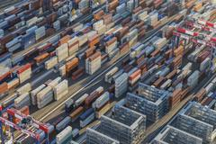 Port Side Container Stacks Stock Photos