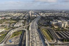 Aerial of the San Diego 405 Freeway in West Los Angeles Stock Photos