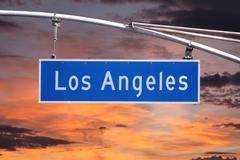 Los Angeles Street Sign with Sunrise Sky Stock Photos