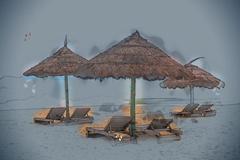 Simple scene with straw umbrella Stock Illustration