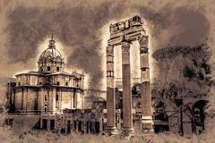 Ruins of the Roman Forum Stock Illustration