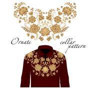 Floral curl neck embroidery for blouses. Vector, illustration. Decoration for Stock Illustration