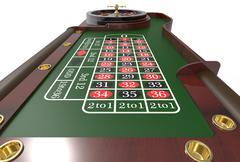 Casino roulette wheel 3D render Stock Illustration