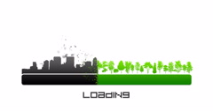 Loading bar concept green trees give way to black city skyline silhouettes Stock Footage