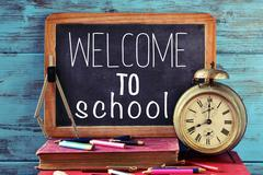 Text welcome to school on a chalkboard Stock Photos